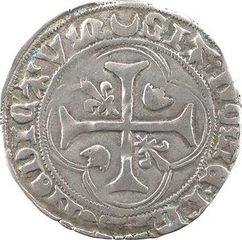 Charles VII, blanc à la couronne (croissant, pas de points), cantonnement inversé, 1re émission, Châlons-en-Champagne
