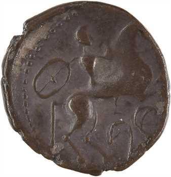 Bituriges Cubes, drachme au cavalier et au bouclier, hybride classes III et IV, c.150-100 av.J.-C