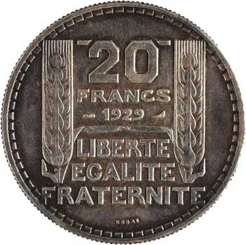 IIIe République, essai de 20 francs Turin en cuivre-aluminium argenté, 1929 Paris