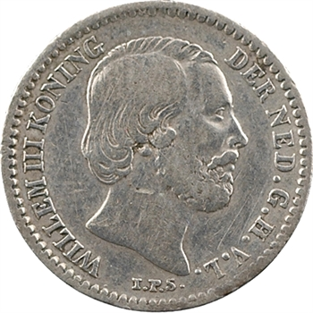 Pays-Bas (royaume des), Guillaume III, 10 cents, 1853 Utrecht