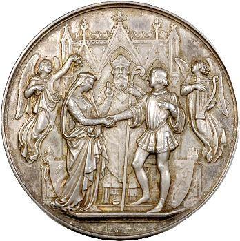 IIIe république, médaille de mariage dans son coffret, 1890