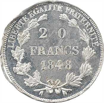 IIe République, concours de 20 francs or par Montagny, buste habillé, 1848 Paris