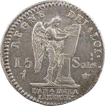 Constitution, 15 sols FRANÇOIS, An 4, 2d semestre, 1792 Lille