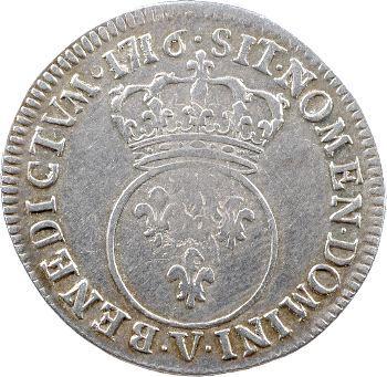 Louis XV, quart d'écu dit vertugadin, 1716 Troyes