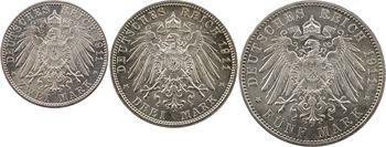Allemagne, Bavière (royaume de), Prince-régent Luitpold, 5, 3 et 2 mark, 1911 Munich, lot de 3