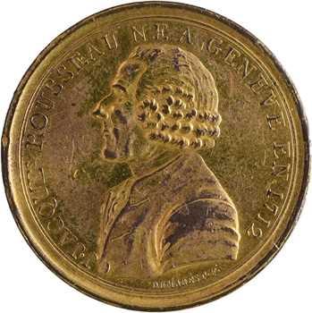 Constitution, Monneron à l'effigie de Jean-Jacques Rousseau, en bronze doré, 1791 ?