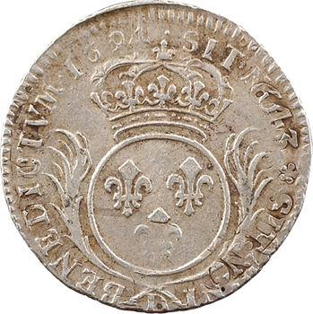 Louis XIV, douzième d'écu aux palmes, 1694 Lyon