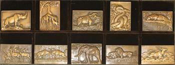 Thénot (M.) : coffret de 10 plaques, les animaux de la jungle, s.d. (c.1931) Paris