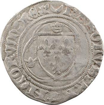 Charles VII, blanc à la couronne (croissant, points 12/17),1re émission, Châlons-en-Champagne