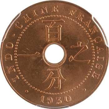 Indochine, 1 centième, 1930 Paris, PCGS MS66RD