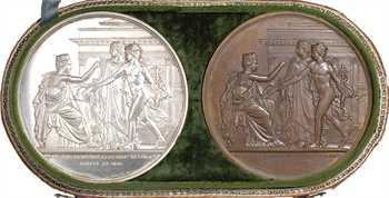 Charles X, achèvement du Palais de la Bourse, coffret de 2 médailles en argent et bronze, 1825 Paris