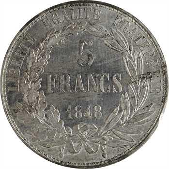 IIe République, concours de 5 francs par Dantzell, 1848 Paris