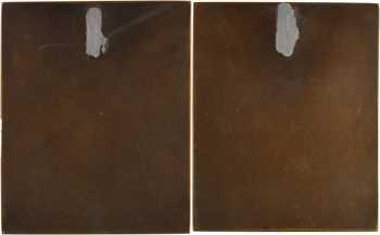Guzman (A.) : paire de plaques du trône de Vénus, la joueuse de flûte et la femme au brûle-parfum, s.d. (1933) Paris