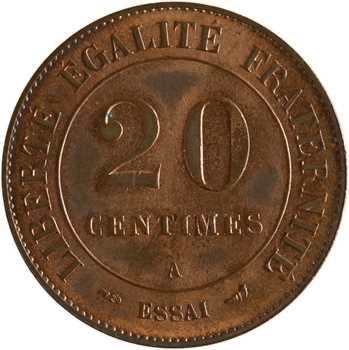 IIIe République, essai de 20 centimes Merley en bronze, 1902 Paris