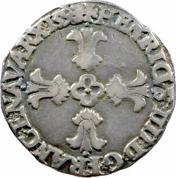 Henri IV, huitième d'écu, croix feuillue de face, 1593 Bayonne