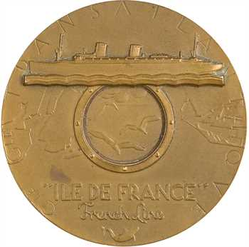 IVe République, Compagnie Générale Transatlantique, le paquebot Île de France (French line), par Renard, 1949 Paris
