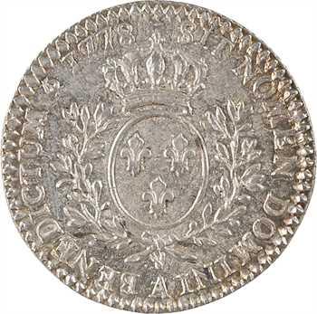 Louis XVI, dixième d'écu aux rameaux d'olivier, 1778, 2d semestre, Paris