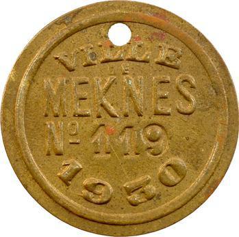 Maroc, Meknès (ville de), plaque de taxe, n° 119, 1930
