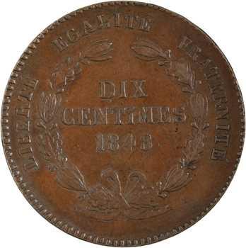 IIe République, 1er concours de 10 centimes par Rogat, en cuivre, 1848 Paris