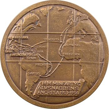Suède, traversée transatlantique du mouilleur de mines H.M.S. Älvsnabbens, 1953-1954