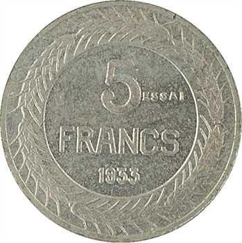 IIIe République, essai de 5 francs par Cochet, petit module, 1933 Paris