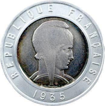 IIIe République, épreuve uniface de 25 francs Bazor bimétallique, 1935 Paris