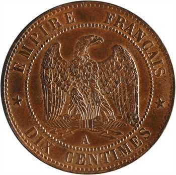 Second Empire, dix centimes tête laurée, 1863 Paris