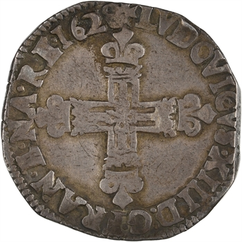 Louis XIII, quart d'écu croix de face, 1628 Bayonne
