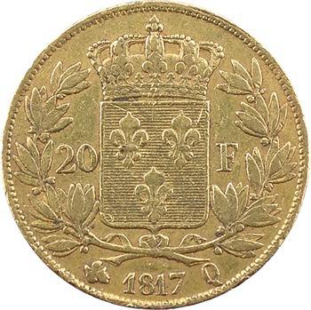 Louis XVIII, 20 francs buste nu, 1817 Perpignan