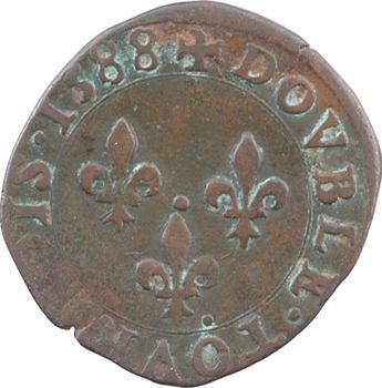 Henri III, double tournois, 1588 Poitiers