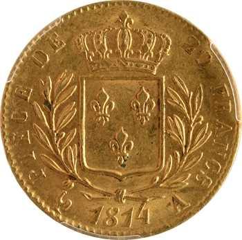 Louis XVIII, 20 francs buste habillé, 1814 Paris, PCGS MS63
