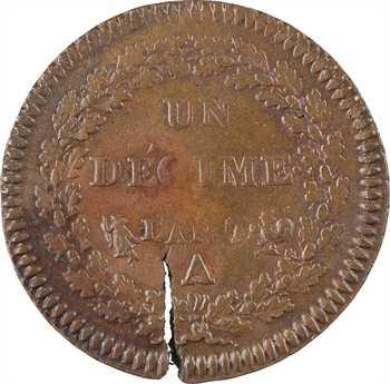 Directoire, un décime Dupré, An 7/5 Paris, contremarque royaliste