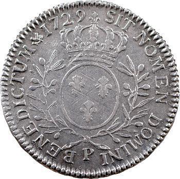 Louis XV, demi-écu aux rameaux d'olivier, 1729 Dijon