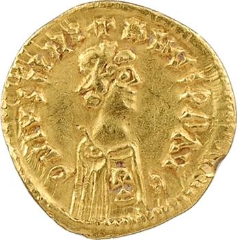 Wisigoths, trémissis au nom de Justinien Ier, Andalousie, peut-être Séville, c.550-600