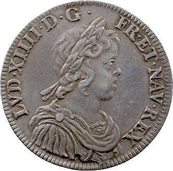 Louis XIV, demi-écu à la mèche courte, 1644 Paris (rose entre deux points)