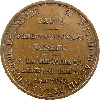 Consulat, fondation du quai Desaix à Paris, 25 messidor An VIII
