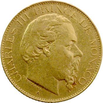 Monaco, Charles III, vingt francs, 1878 Paris