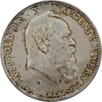 Allemagne, Bavière (royaume de), Prince-régent Luitpold, 5 mark, 1911 Munich
