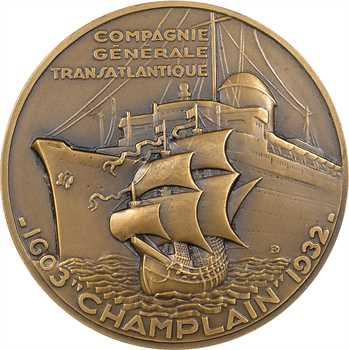 Compagnie Générale Transatlantique : le paquebot Champlain, par Delamarre, dans sa boîte, 1932 Paris