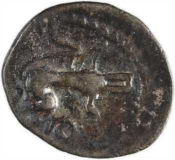 Andécaves, obole au sanglier-enseigne à droite, proche des types du Pont de la Chaloire, c.80-50 av. J.-C