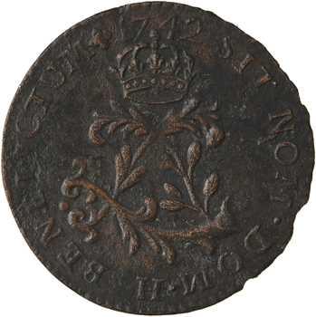 Louis XV, double sol dit au gros L, faux d'époque ? 1742 La Rochelle