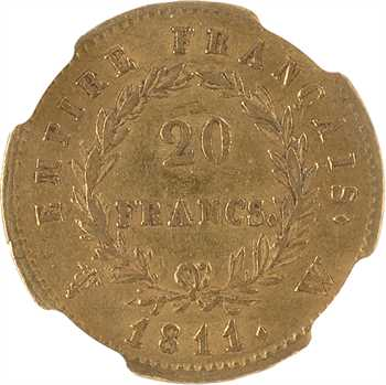 Premier Empire, 20 francs Empire, 1811 Lille, NGC AU58