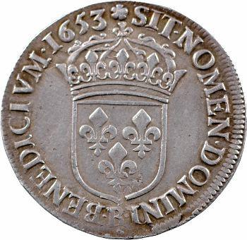 Louis XIV, demi-écu à la mèche longue, 1653 Rouen