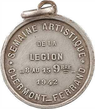 IIe Guerre Mondiale, la semaine artistique de la Légion, médaillette par F. Angeli, 1942 Paris