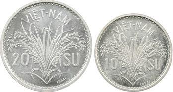 Viêt Nam, coffret de trois essais de 10, 20 et 50 Su, 1953 Paris