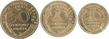 Ve République, coffret des essais 10, 20 et 50 centimes Lagriffoul, 1962 Paris