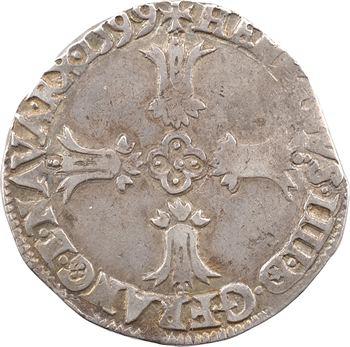 Henri IV, quart d'écu, croix feuillue de face, 1599 Bayonne