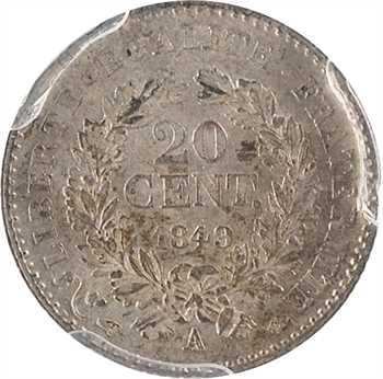 IIe République, 20 centimes Cérès, 1849 Paris, PCGS MS62