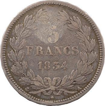 Louis-Philippe Ier, 5 francs IIe type Domard, avec contremarque napoléonienne [ou postérieure ?], [1834] Paris
