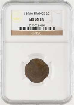 IIIe République, 2 centimes Cérès, 1896 Paris, NGC MS65BN